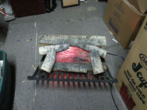 Vintage Electric Fireplace  Wood Logs insert cast iron base