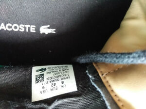 Lacoste Black Leather Size 9 for men.