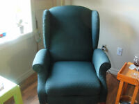 EMERALD GREEN CHAIR, WING BACK RECLINER