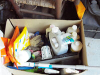Box of various cleaning etc. supplies