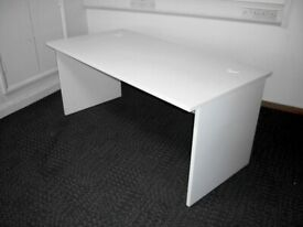 FREE SAME-DAY DELIVERY - Straight White Office Desks with Panel Leg 1400mm x 800mm