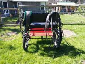 2 wheel horse cart with horse size biothane harness.