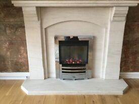 Lime Stone Fireplace and Gas Fire