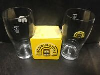 Boddingtons 2 x 1 pint beer glasses and beer mats (approx, 50)