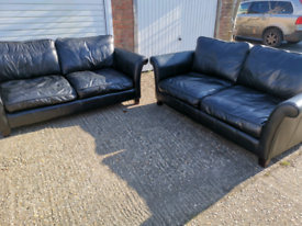 2 x superb genuine black leather sofas, local delivery possible