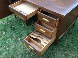 Vintage Antique Bankers Desk - Metal inset handles, very rare Cambridge Kitchener Area image 4