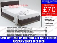 King size Leather Bed with different mattress