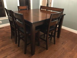 Pub Style Dining Set with Bench+4 Chairs