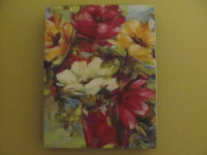 """13.5"""" 10.5"""" flowers themed wall art on canvas."""