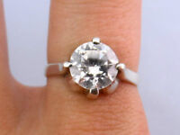 Vintage Mexican Round CZ Solitaire .925 Silver Ring, Size 8 1/2