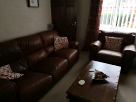 Italian leather three piece suite