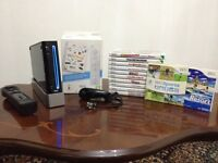 Nintendo Wii (Black) Console with 12 Games.