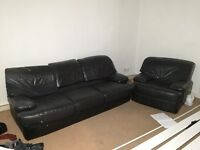 3 seater sofa and armchair black leather FREE to collect