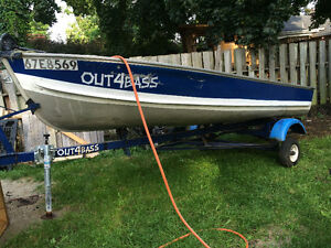 14' aluminum boat, motors and trailer Cambridge Kitchener Area image 1
