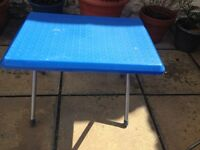 Blue small fold away camping table