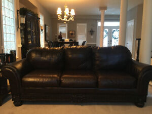 Beautiful Leather Couch with Chaise Lounge-Moving Sale!