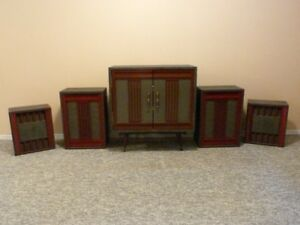 Beautiful Art-Deco Style Stereo Cabinet With matching Speakers