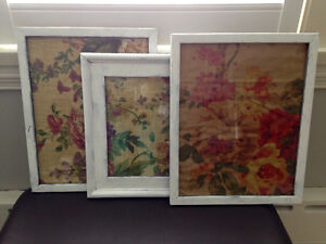 White wall frames with floral fabric