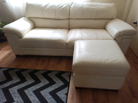Cream leather 3 seater sofa+ foot rest