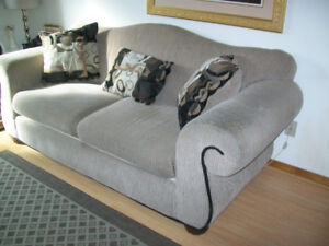 """Sofa FULL Size Chenille Taupe 87'L x 38""""D & Cushions 2 Available"""