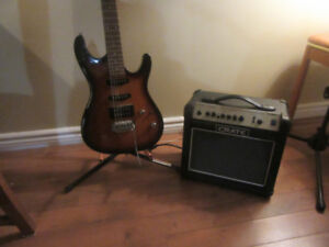 Electric Ibaneze Guitar with Amp