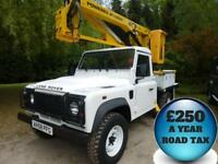 2008 Land Rover 110 Defender 2.4TDCi 120bhp 4x4 13.5M Cherry Picker Diesel