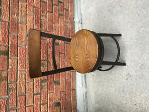 4 Industrial Look Wooden Swivel Kitchen Chairs