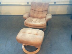 Leather Recliner Chair & Ottoman