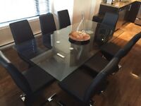 Dinning table, 8 leather chairs