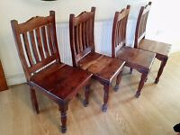 REDUCED set of 4 antique solid wood wooden dining chairs