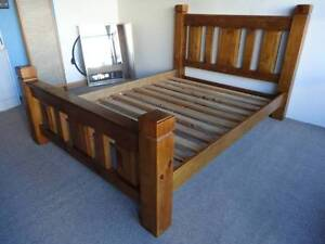 QUEEN SIZE BED CHUNKY PINE TIMBER TEAK STAIN SLATS CENTRE RAIL VG Geebung Brisbane North East Preview