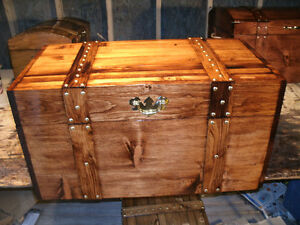 WOOD CRAFTED FLAT TOP TREASURE,HOPE CHEST,STORAGE BOX, TRUNK,