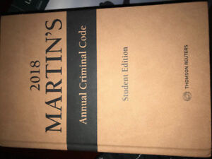 2018 Martin's Annual Criminal Code Student Edition- ONLY $100