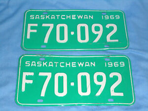 1969 Saskatchewan License Plates PAIR $20.00