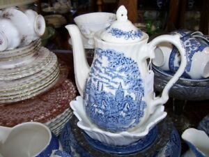 Blue English Horse Coach Castle estate design Teapot
