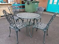 Wrought iron garden table with 4 wrought iron chairs