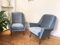 Pair of 1950's Blue Armchairs. Vintage Retro. Matching Sofa Bed.