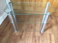 Three tier Glass TV stand silver