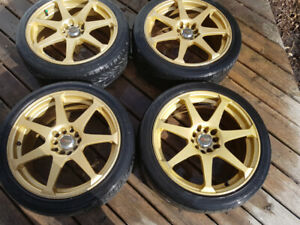 "Honda 17"" Gold Drag  Alloy Rims  205 45 ZR17 low profile tires"