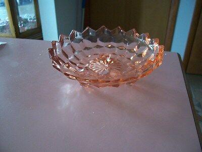 "Indiana Glass Whitehall  American  pink 6 1/4"" 3 toed Bon Bon"