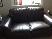Real leather dark brown sofa