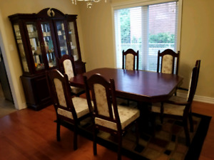 Hutch buffet with six chairs and table