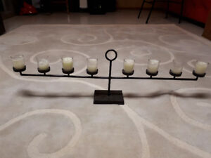 "POTTERY BARN 36"" RUSTIC  CANDLE HOLDER CENTERPIECE"