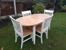 Amalfi Extending Oak & Cream Dining Table & 4 Chairs Oak Furniture Su