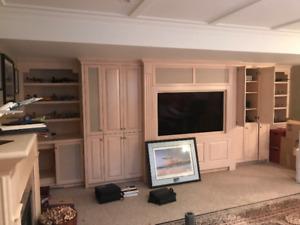 Custom TV Theatre Wall Unit - solid maple- Renovation sale