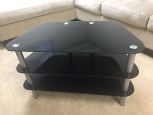 Modern black glass and chrome tv stand