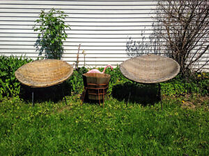 1950s Woven Wicker and Iron Bucket Chairs West Island Greater Montréal image 4
