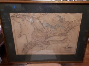 Antique map of Ontario framed  34 x 26