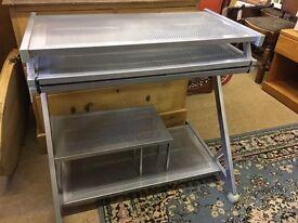 Metal silver computer workstation desk
