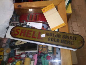 signs: rare SHELL OIL Spirits cast iron gas station